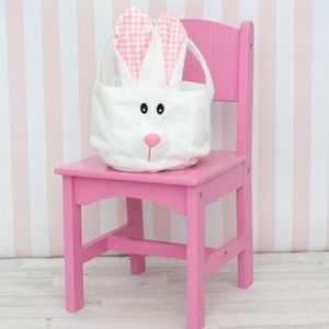 NWT! Pink Plaid Bunny Easter Basket